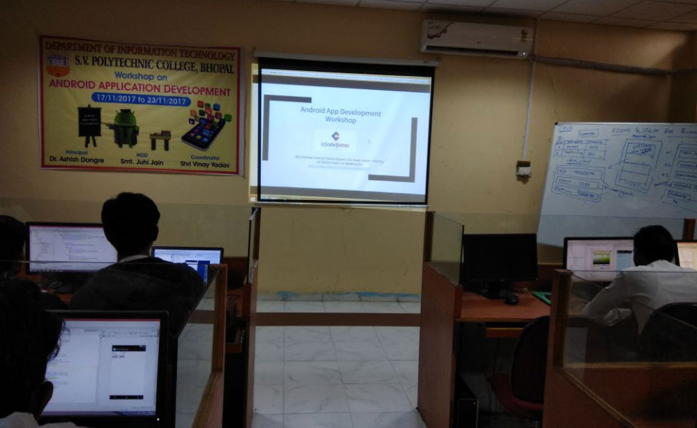 Android workshop at S V Polytechnic College, Bhopal